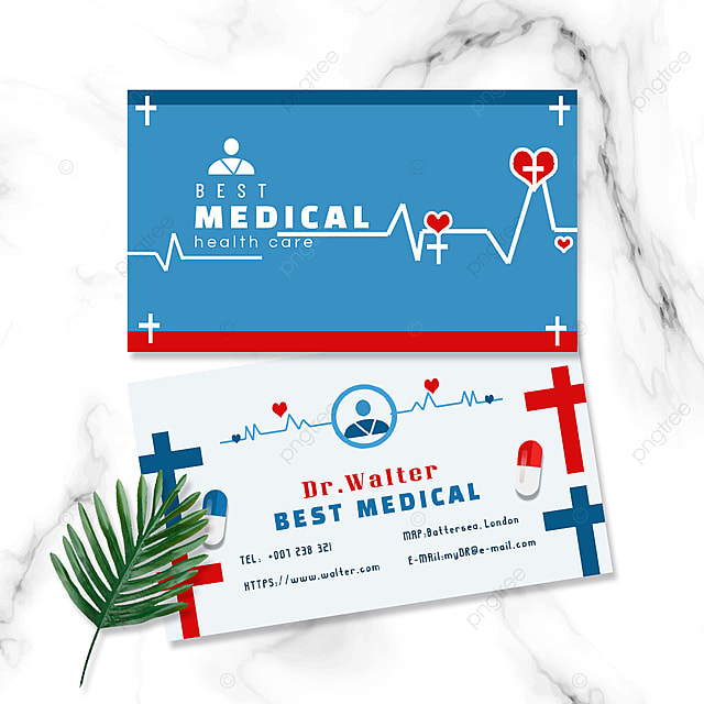 medical industry doctors red and blue pharmacy double sided business card