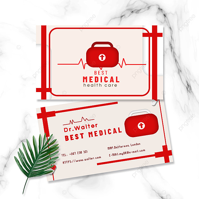 medical profession doctor nurse red medicine box double sided business card