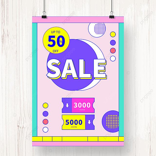 memphis geometric circle sale promotion poster