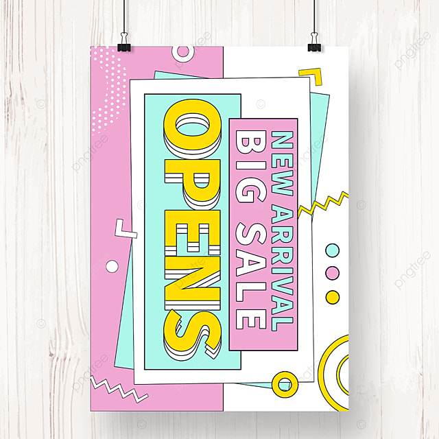 memphis geometric new store opening promotion poster