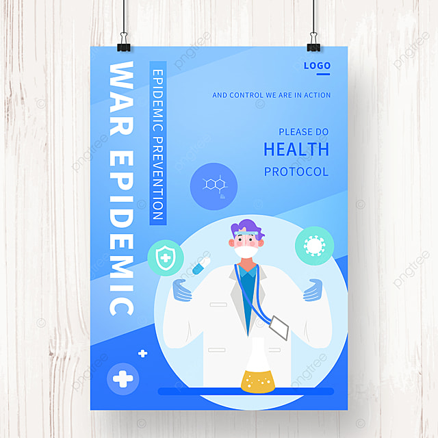 new crown virus prevention and control blue illustration public welfare poster
