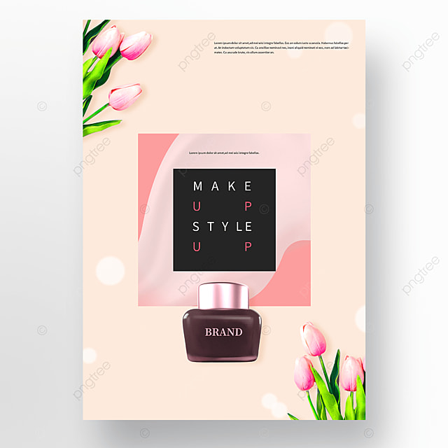 pink flowers spring cosmetics poster