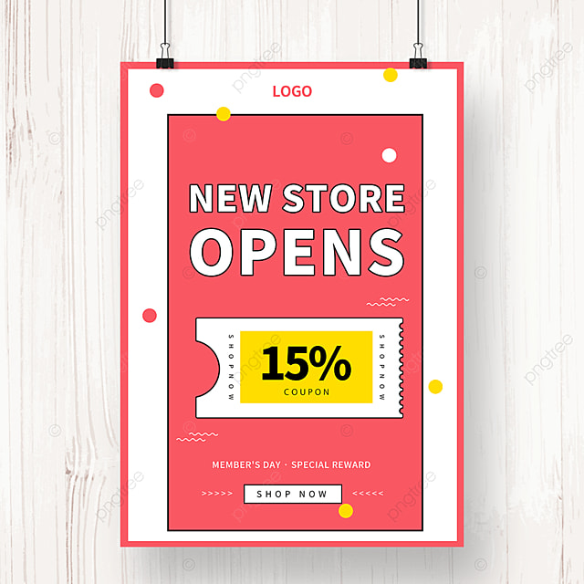pink geometric memphis new store promotion poster