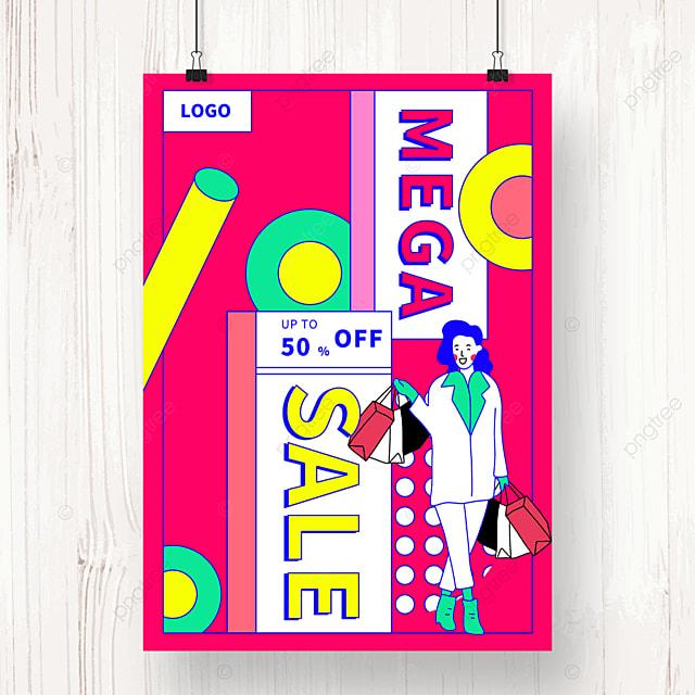 pink geometric memphis promotion poster