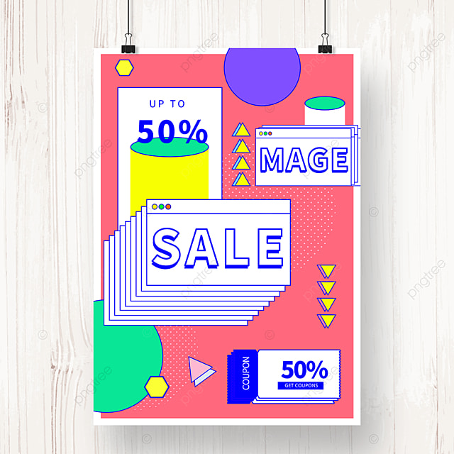 pink geometric memphis promotion sale poster