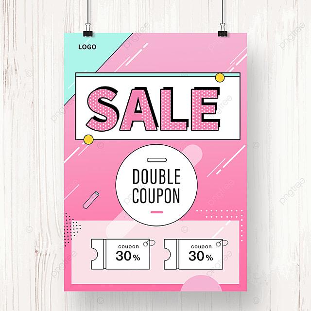 pink memphis geometric sale promotion poster