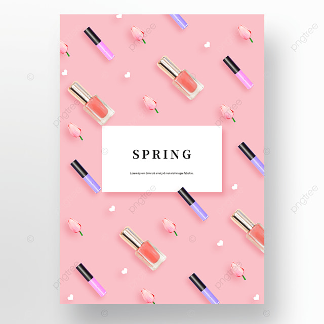 pink spring cosmetics flower background poster