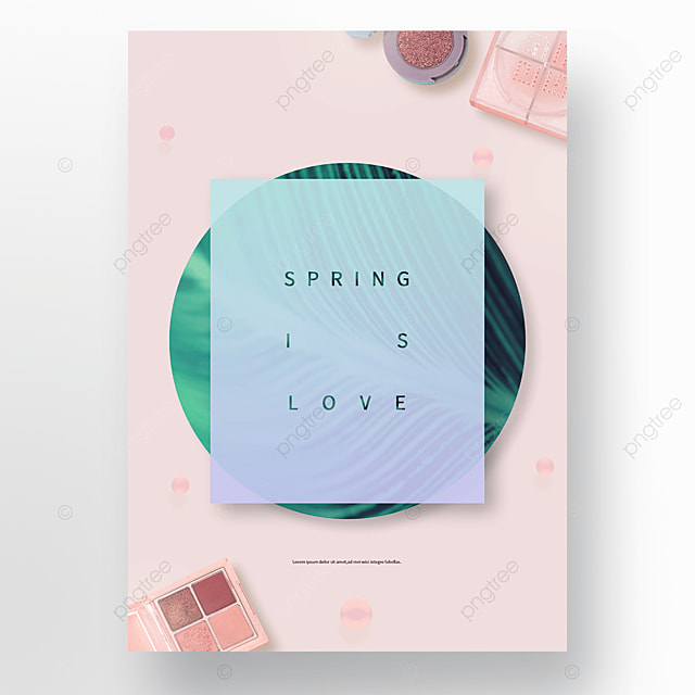 pink spring plant cosmetics poster