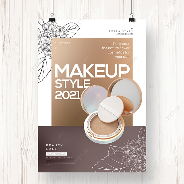 premium elegant lineart flower cosmetics poster