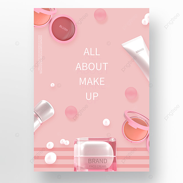 romantic pink cosmetics skin care products spring poster