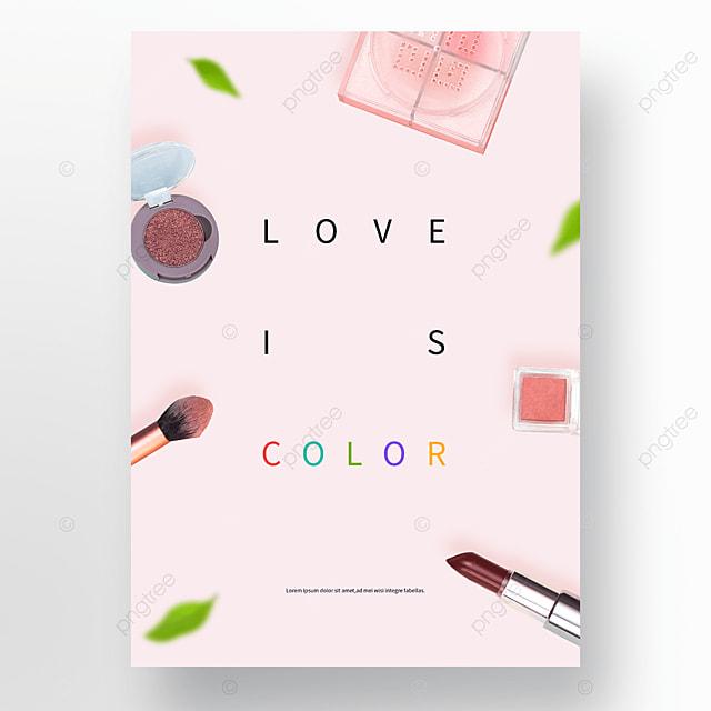 romantic pink spring cosmetics poster