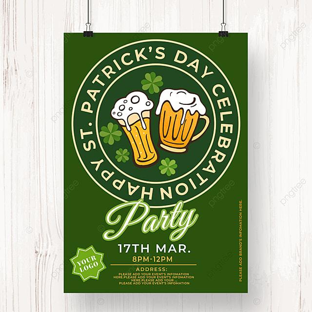 round badge st patricks day beer poster