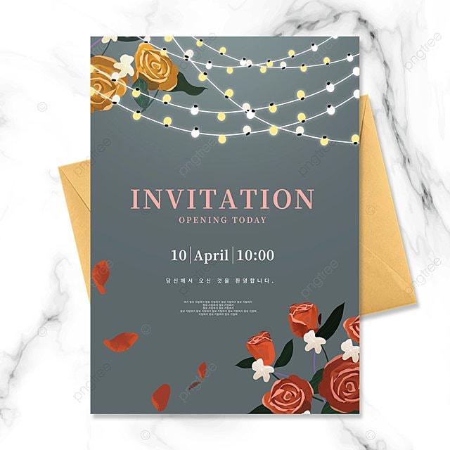 shiny lighting creative rose texture invitation letter