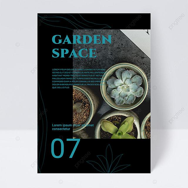 simple black texture green gardening brochure flyer