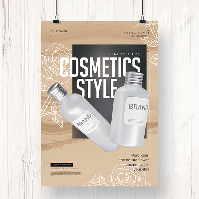 simple line floral cosmetics poster