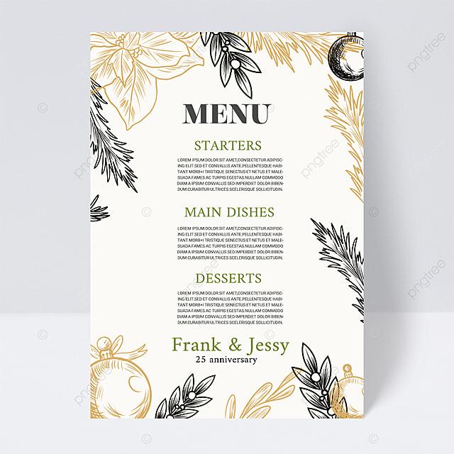 simple white plant wedding menu