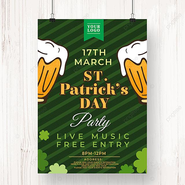 striped st patricks day beer poster