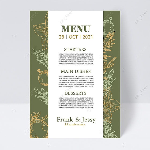 white and green simple and elegant plant wedding menu