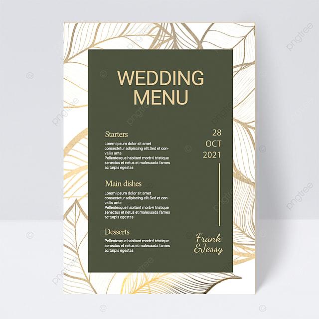 white black simple plant wedding menu