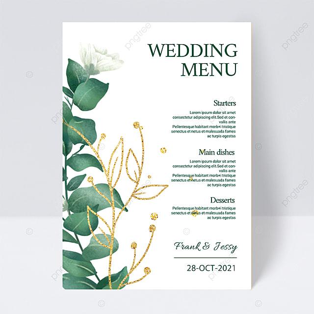 white elegant simple green plant wedding menu