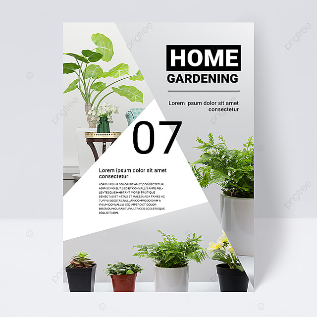 white gray simple texture green gardening brochure flyer