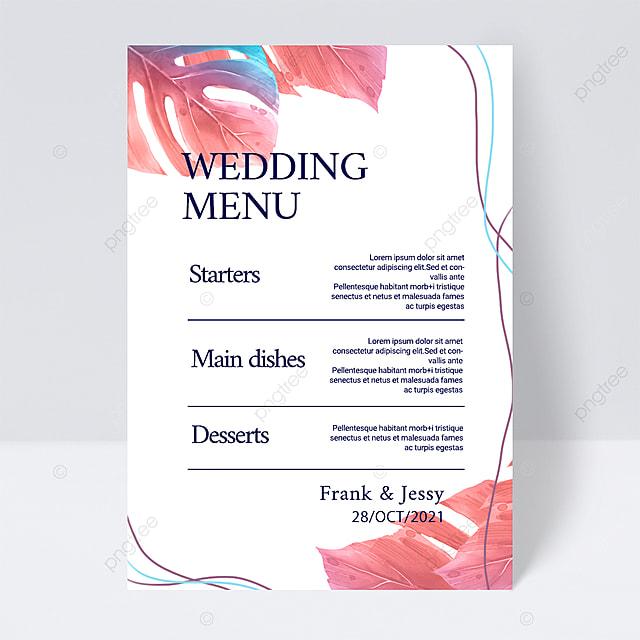 white simple and elegant pink plant line wedding menu