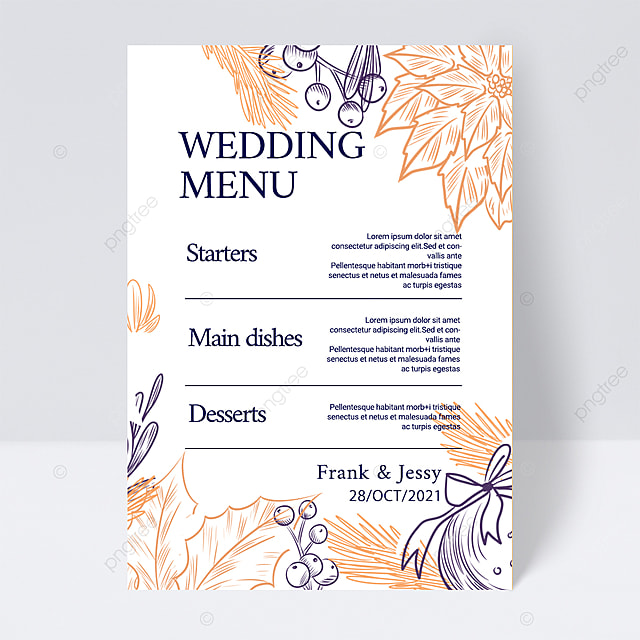 white simple and elegant plant line wedding menu