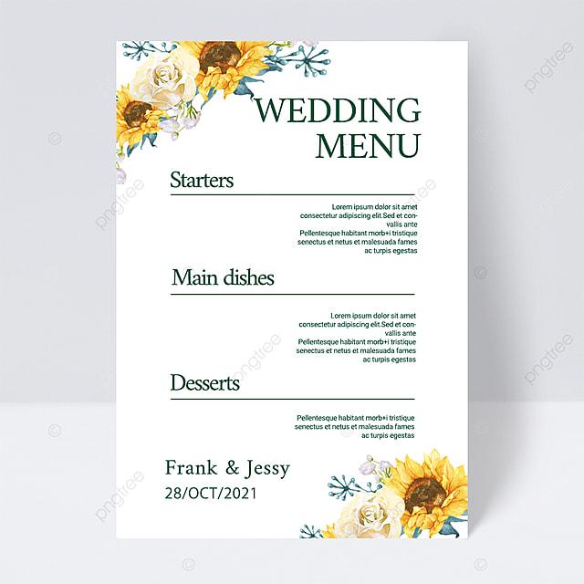 white simple and elegant plant wedding menu