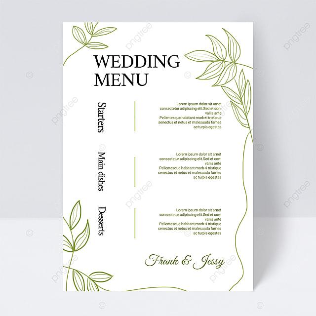 white simple and elegant simple green plant line wedding menu