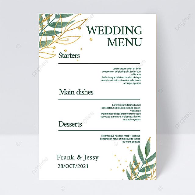 white simple and elegant simple plant line wedding menu