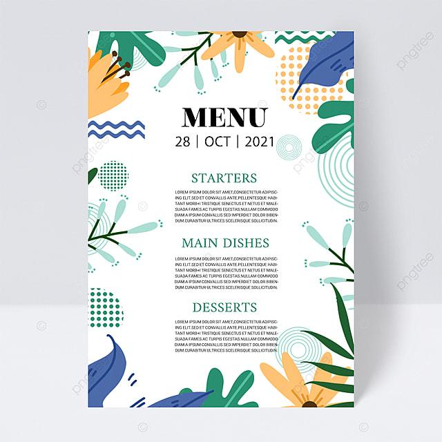 white simple and elegant simple texture plant wedding menu