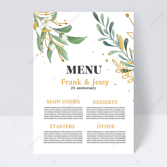 white simple and elegant texture simple plant wedding menu
