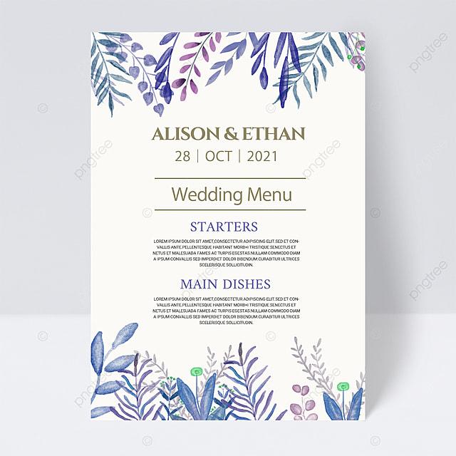 white simple blue plant wedding menu