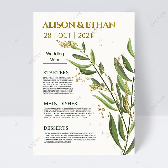 white simple green plants wedding menu