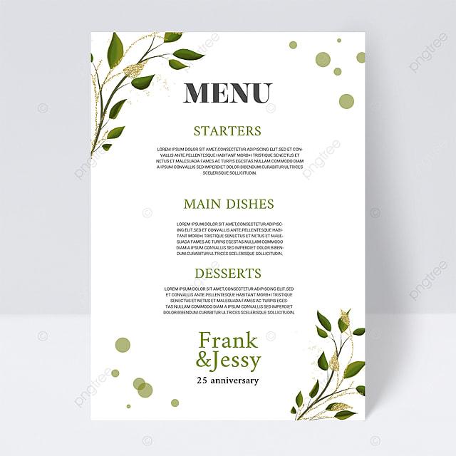 white simple plant line wedding menu