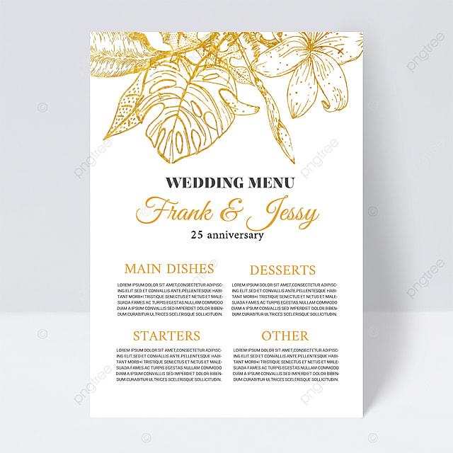 white simple plant wedding menu