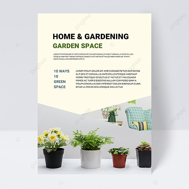 white simple texture green gardening brochure flyer