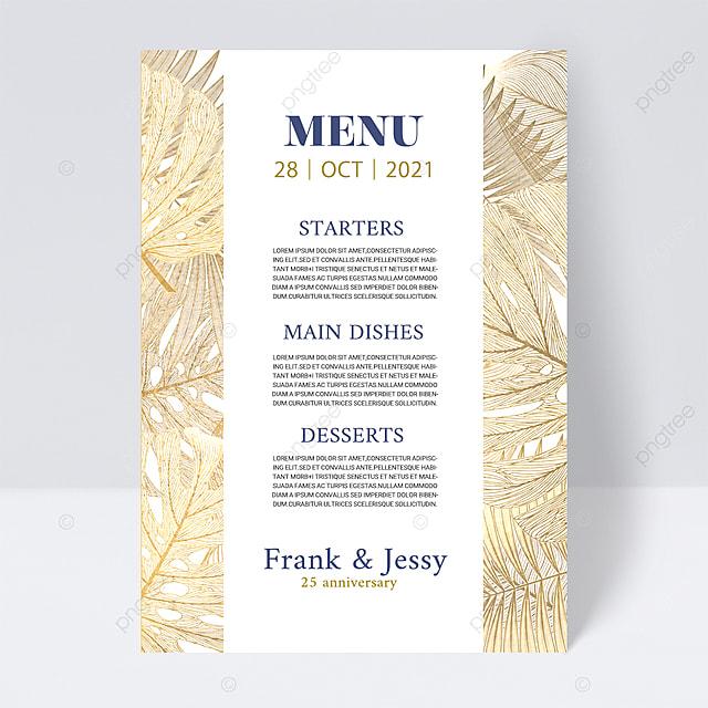 white simple texture plant wedding menu