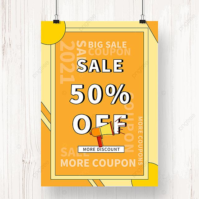yellow geometric memphis promotion poster