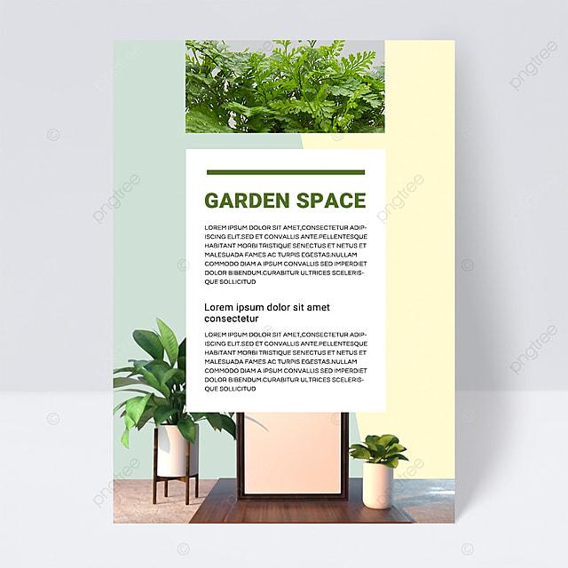 yellow green simple texture gardening brochure flyer