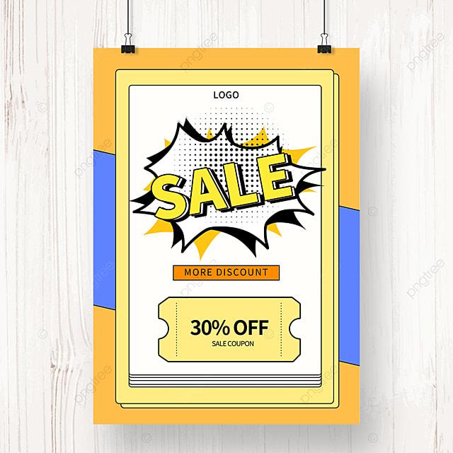 yellow memphis geometric sale promotion poster