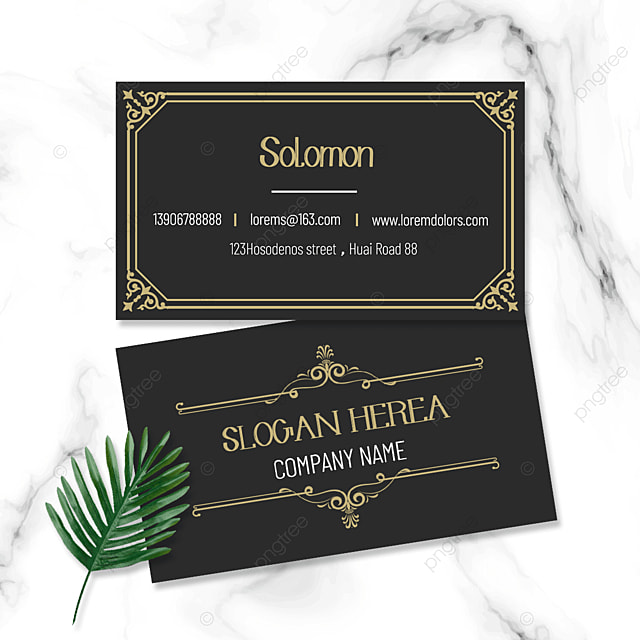 black retro business double sided business card