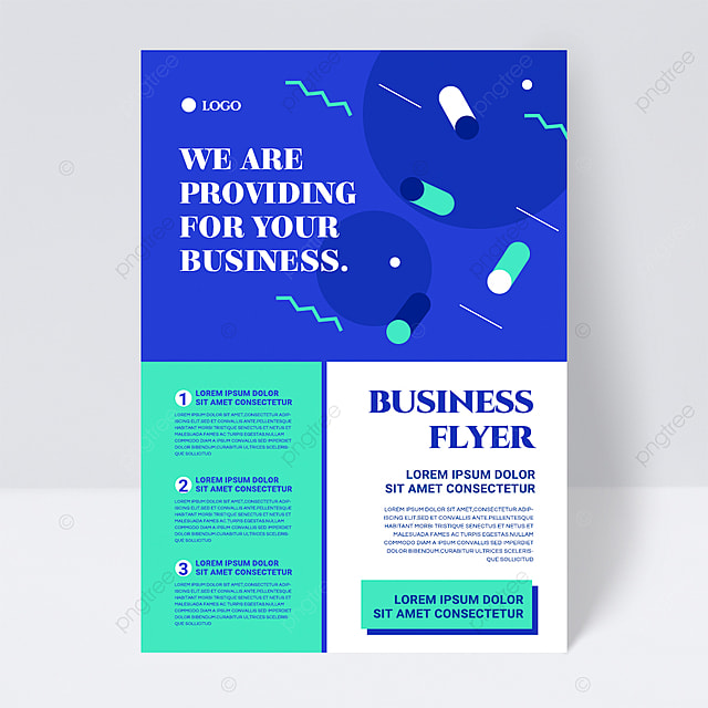 colorful simple cyan shape abstract business flyer