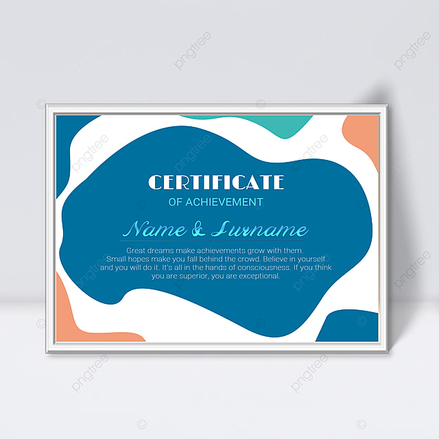 blue minimalist abstract geometric colorful certificate template