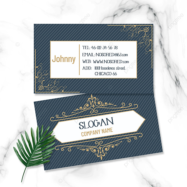 blue stripes retro business double sided business card