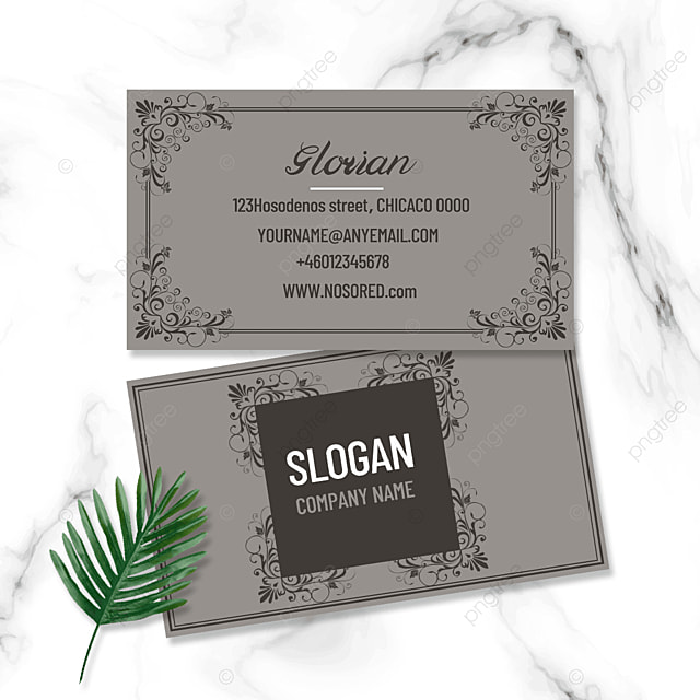 gray retro business double sided business card
