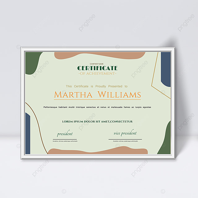 green minimalist abstract geometric colorful certificate template