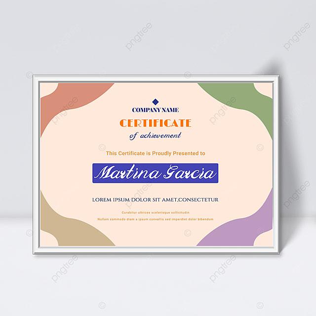orange minimalist abstract geometric colorful certificate template