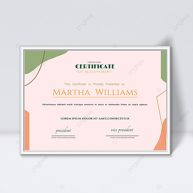 pink minimalist abstract geometric colorful certificate template