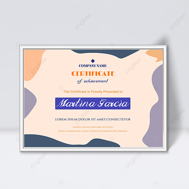 pink purple minimalist abstract geometric colorful certificate template
